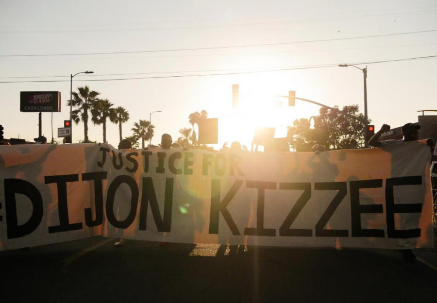 Protesters demanding justice for Dijon Kizzee in South Los Angeles, Calif. on Saturday, Sept. 5, 2020. Many members of the public called in during the Civilian Oversight Committee town hall, voicing their concerns and frustrations with police brutality and the Los Angeles Sheriff's Department.