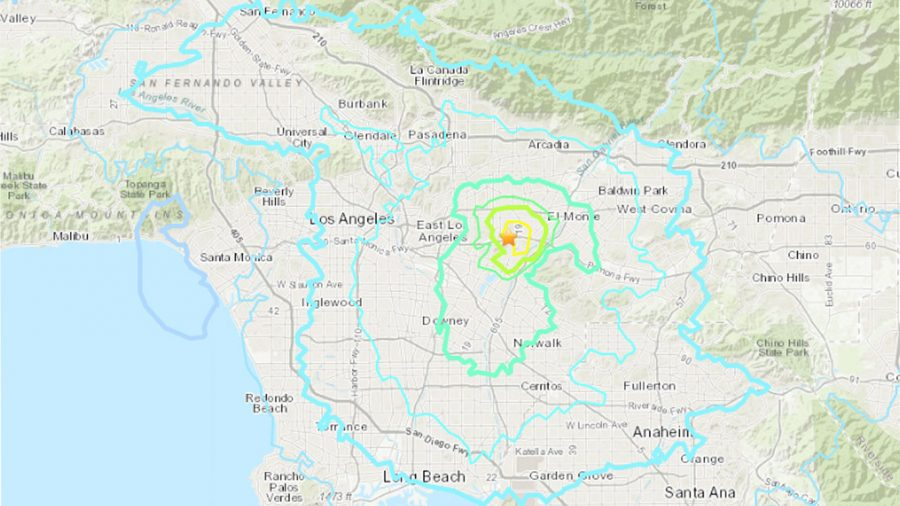 The map shows the shock wave that the earthquake left through Southern California.