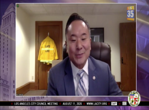 Councilman John Lee in the Aug. 11 L.A. City Council meeting. Lee's involvement with the June 2017 Las Vegas trip with former Councilman Mitch Englander, where Englander accepted bribes from a businessman, raised some constituents' concerns of possible ethical violations.