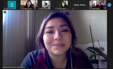 AS President Rose Merida discusses the ethnic studies feedback form with the Senate on Oct. 26 via Zoom.