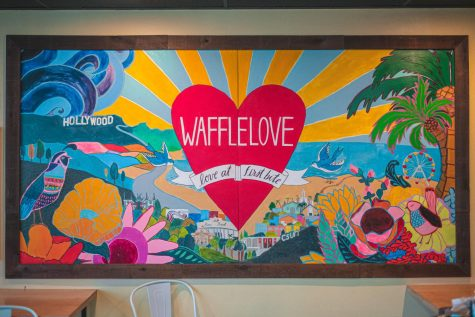 The mural inside Waffle Love located in Northridge, Calif., on Monday, Oct. 14, 2020.
