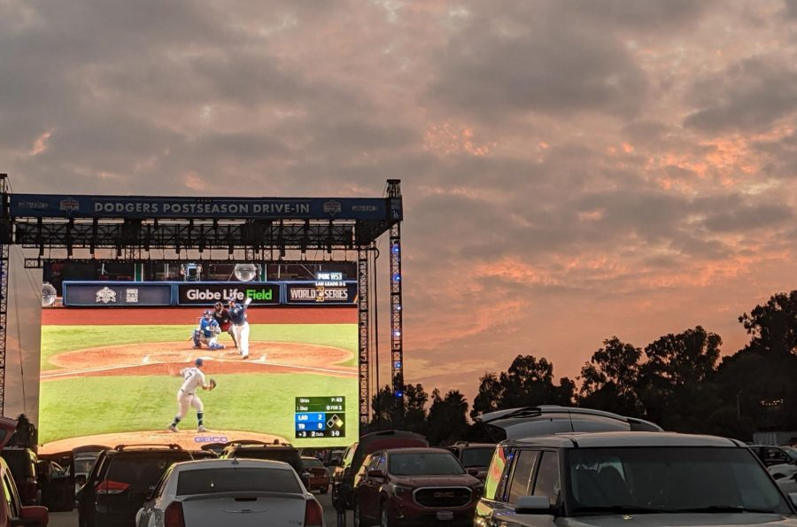 Cars fill the parking lot of Dodger Stadium on Saturday, Oct. 24 for Game 4 of the World Series.
