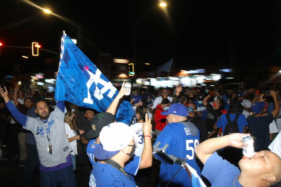 Dodgers fans celebrate the World Series win in East Los Angeles on Tuesday, Oct. 27, 2020.