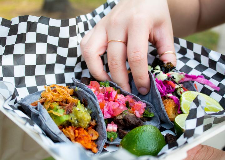 An assortment of vegan tacos — tacos de asada, left, chorizo con papa and calamari — from Pacha Taco in Sun Valley, Calif. on Oct. 4, 2020.