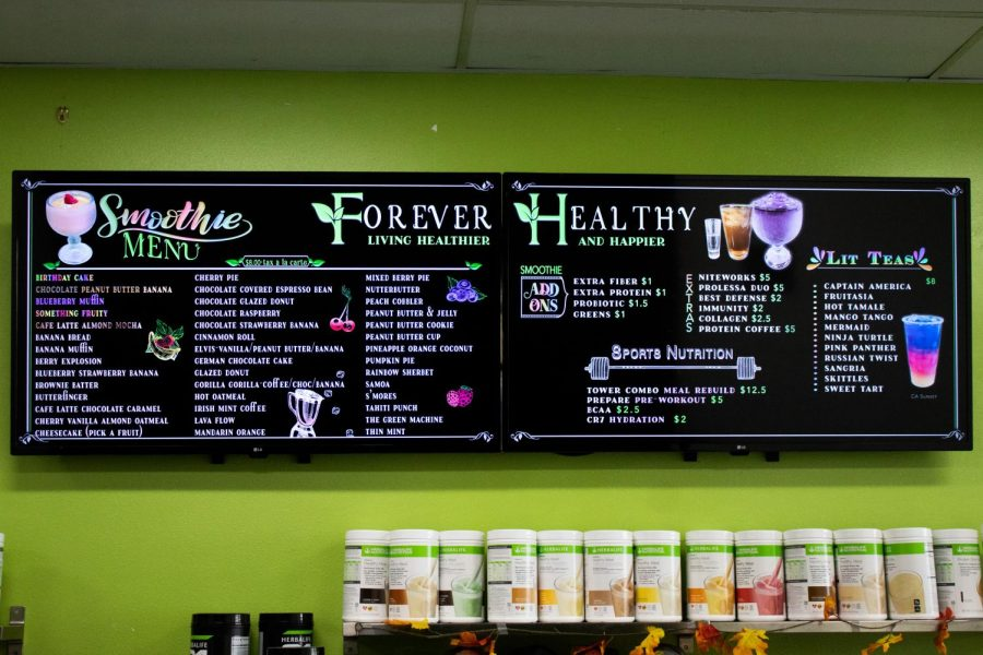 Forever Healthy's smoothie and drink menu features a plethora of flavor combinations to choose from.