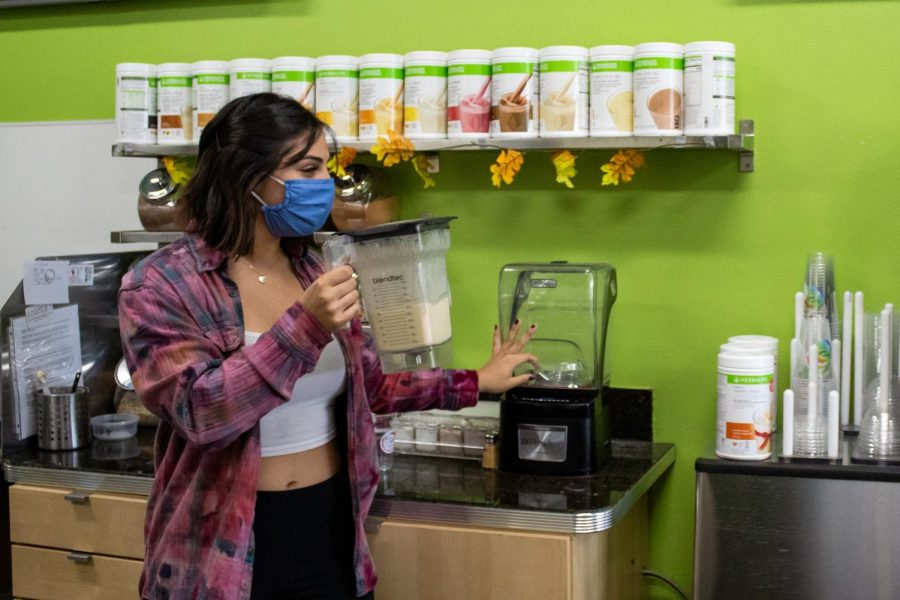 Mandi Macias, a Forever Healthy nutrition confectioner, prepares a Birthday Cake smoothie for a customer at Forever Healthy in Chatsworth, Calif,. on Thursday, Oct. 1st, 2020.