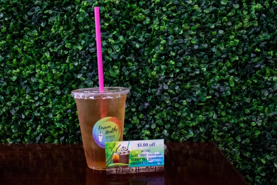 Raspberry Tea with an aloe vera from Forever Healthy in Chatsworth, Calif,. on Thursday, Oct. 1st, 2020