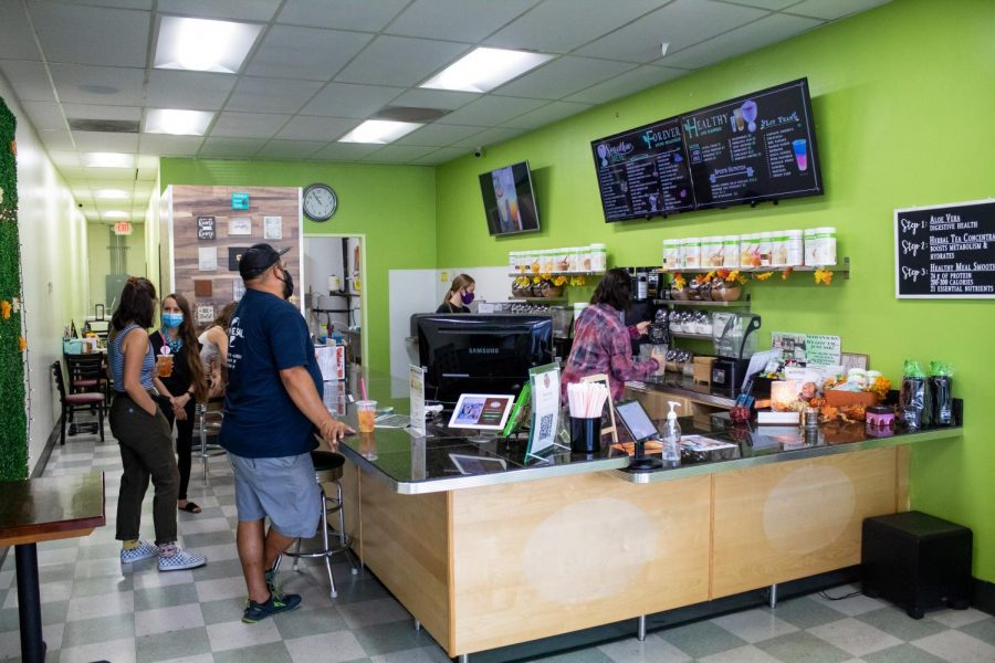 The Forever Healthy crew taking orders and making smoothies for customers at Forever Healthy in Chatsworth, Calif,. on Thursday, Oct. 1st, 2020.