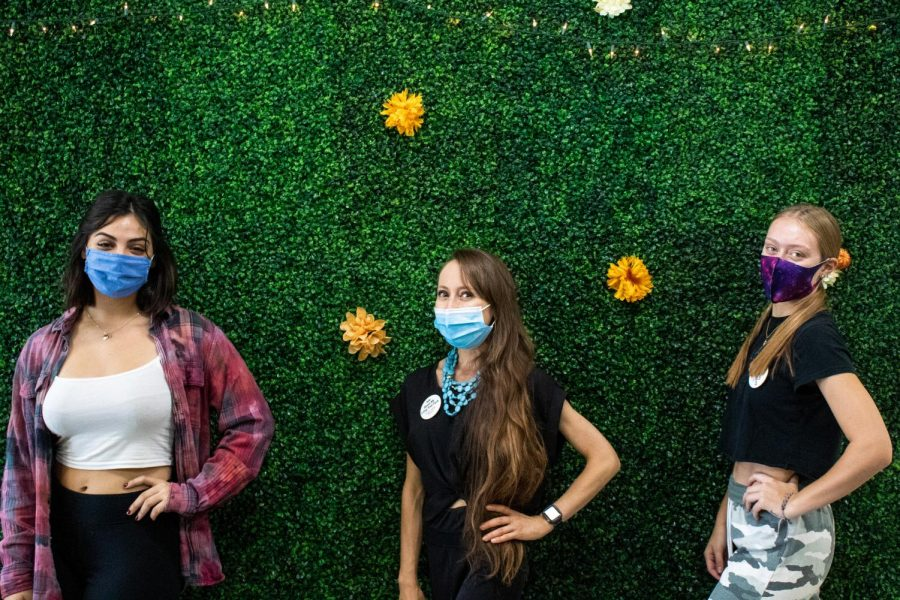 The Forever Healthy crew, Mandi Macias, left, Rachel Howry, and Kaitlin Sutherland pose for a socially-distant group photo at Forever Healthy in Chatsworth, Calif,. on Thursday, Oct. 1st, 2020.