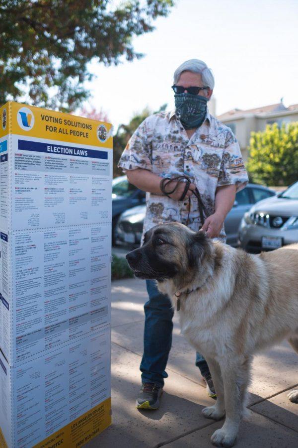 John Genga and his dog, Gentle Giant Goliath, at the Saint Paul's United Methodist Church in Northridge, Calif., on Tuesday, Nov. 3, 2020 ready to cast their ballots for the upcoming election.  People who are not registered can go to a polling station in California to register and vote during the day of the Election.