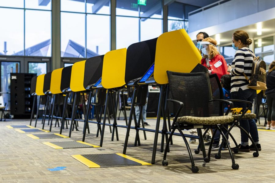 A row of ballot-marking devices at the vote center in Los Angeles Pierce College in Woodland Hills, Calif., on Tuesday, Nov. 3, 2020.