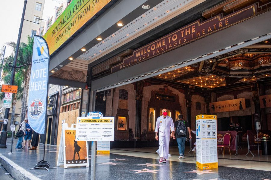 Curbside voting is available at the Pantages Theater in Hollywood, Calif., on Tuesday, Nov. 3, 2020.