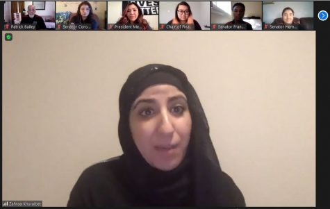 Zahraa Khuraibet spoke at the Associated Students meeting on Nov. 2.