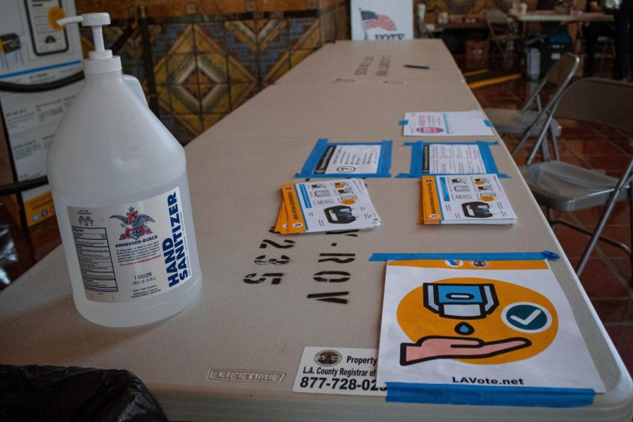 A sanitizing station at the Union Station voting center in Los Angeles, Calif., on Tuesday, Nov. 3, 2020.