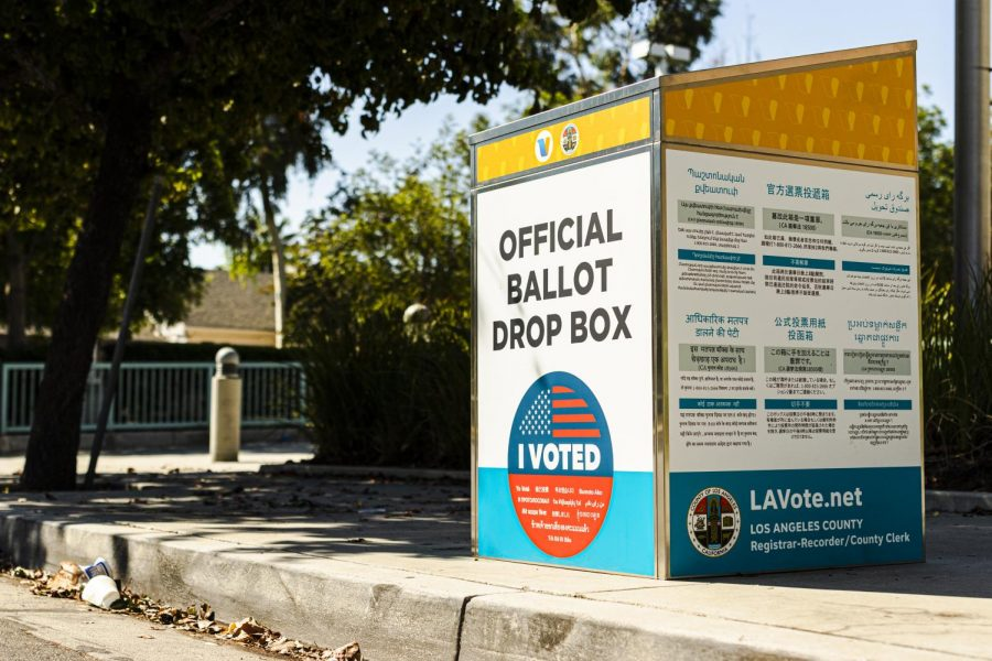 A ballot box outside of the Northridge Branch Library in Northridge, Calif., on Thursday, Oct.15, 2020.