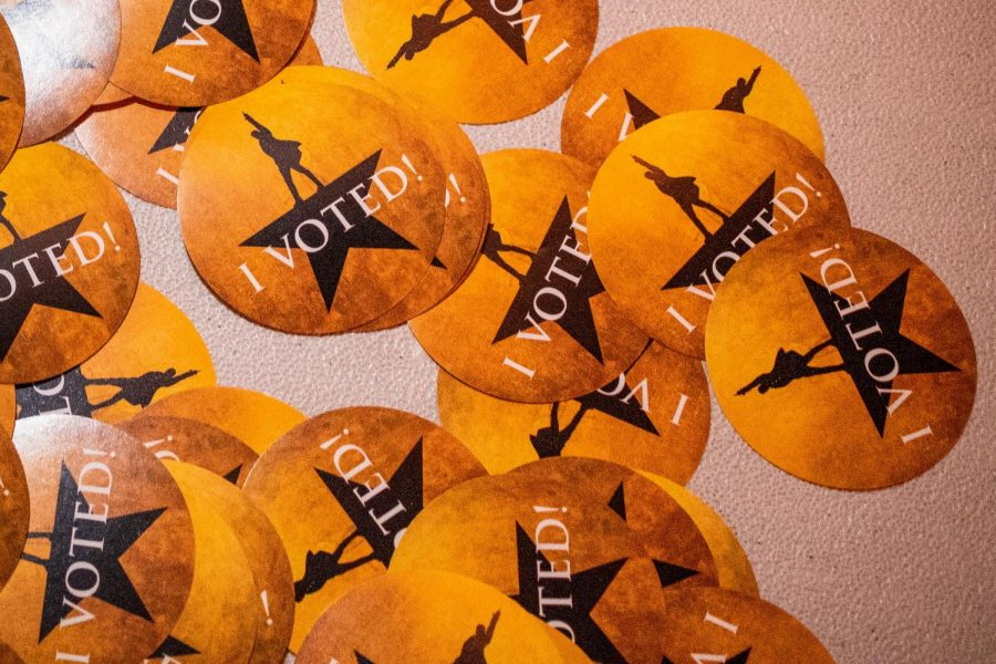 Hamilton-themed voting stickers are available for those who voted at the Pantages Theater in Hollywood, Calif., on Tuesday, Nov. 3, 2020.