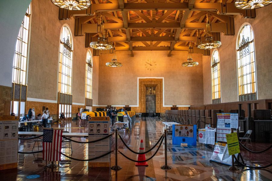 The interior of the voting center located inside the Union Station in Los Angeles, Calif., on Tuesday, Nov. 3, 2020.