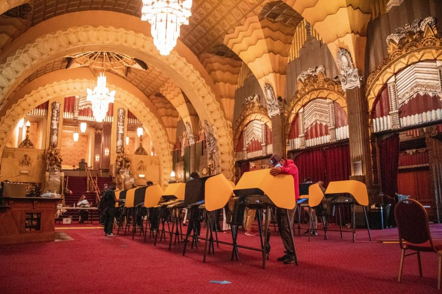 The voting center inside the Pantages Theater in Hollywood, Calif., on Tuesday, Nov. 3, 2020.
