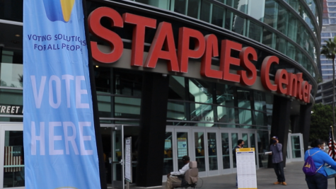 Angelenos vote at the Staples Center and Dodger Stadium on Election Day