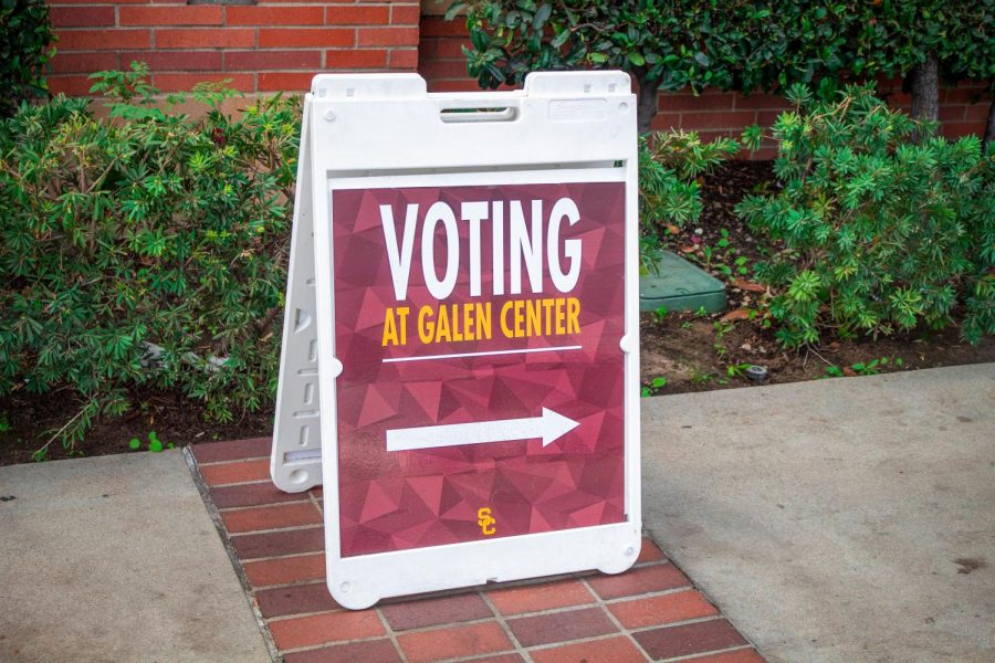 A sign directing voters to the voting center at the USC Galen Center in Los Angeles, Calif. on Tuesday, Nov. 3, 2020