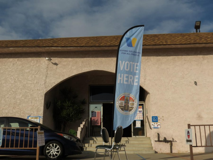 Elks Lodge in Canoga Park, Calif. is a designated voting center with an open parking lot for voters. The voting center location had little to no wait time.