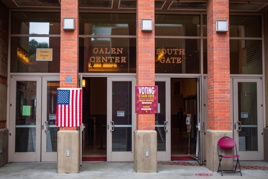 The main entrance to the voting booths at the Galen Center at USC in Los Angeles, Calif. on Tuesday, Nov. 3, 2020.