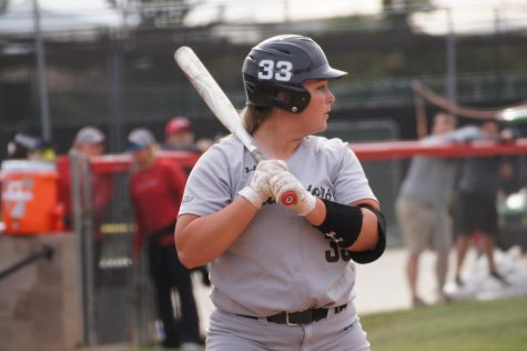 Senior Megan Stevens up to bat against No. 21 University of Central Florida on March 9.  She went 1-for-2 that day producing one of the two Matadors hits.
