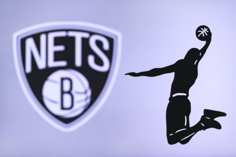 Brooklyn Nets basketball club logo, silhouette of jumping basket player