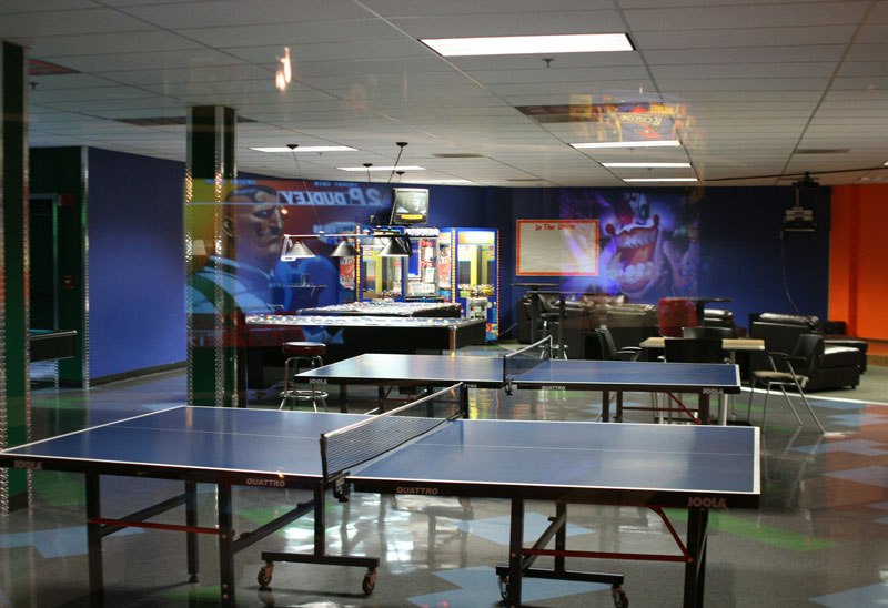 The former games room featured ping-pong tables, pool and video game consoles.