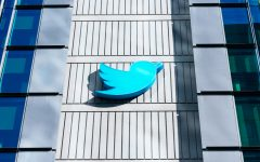 Twitter Bird logo on HQ building in downtown
