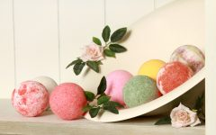 A closeup shot of colorful bath bombs on the shelf