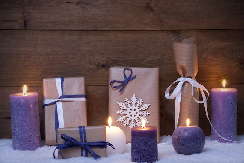 Purple Christmas Gifts With Candles, Snow
