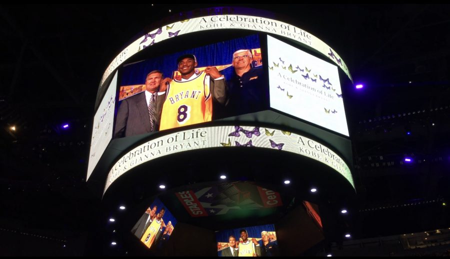 A highlight of Bryant's basketball career displayed on the jumbotron on Feb. 24, 2020 at the Staples Center in Los Angeles, Calif.