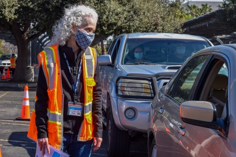 Barbara Ferrer, director of the Los Angeles County Department of Public Health, speaks to patients who received the COVID-19 vaccine at the CSUN distribution site on Saturday, Feb. 13, 2021.