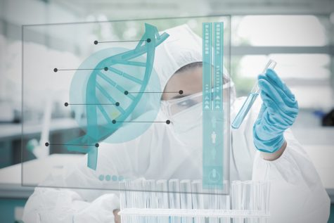 Chemist working cautiously with blue liquid and futuristic interface showing DNA diagram