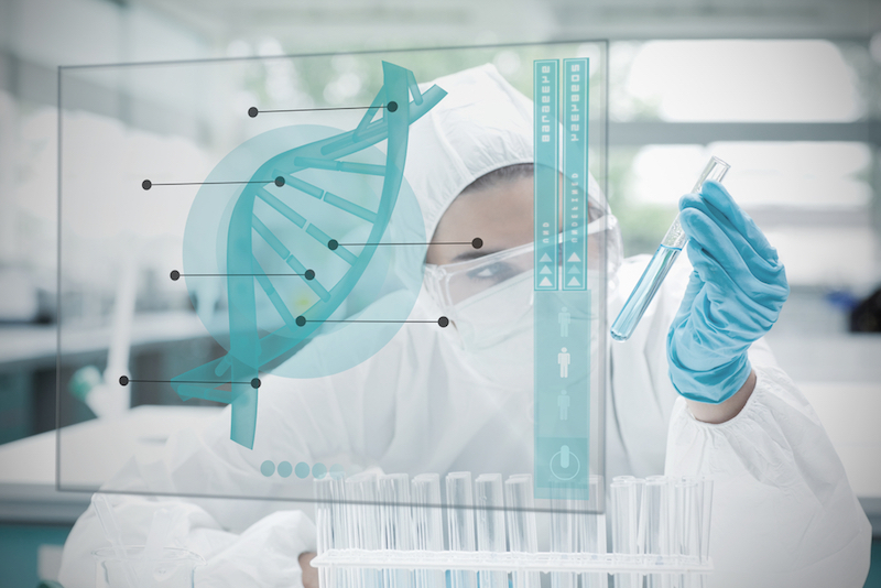 Chemist+working+cautiously+with+blue+liquid+and+futuristic+interface+showing+DNA+diagram
