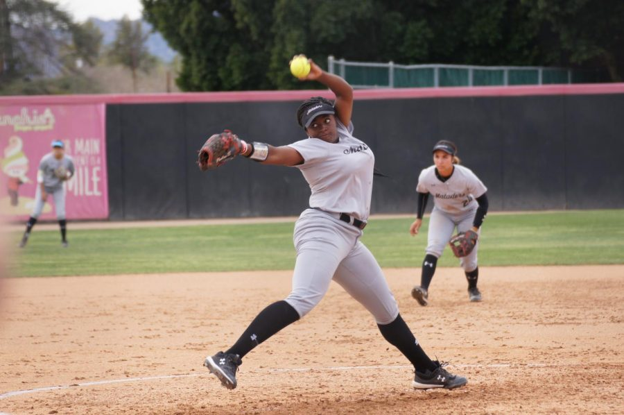 Kenedee Jamerson throws a pitch against the Knights during the Matador's home opener for the 2020 season against UCF.