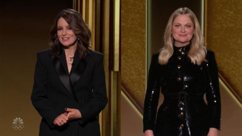 Tina Fey and Amy Poehler co-hosting the 78th Golden Globe Awards on Sunday, Feb. 28, 2021. This is Fey and Poehler