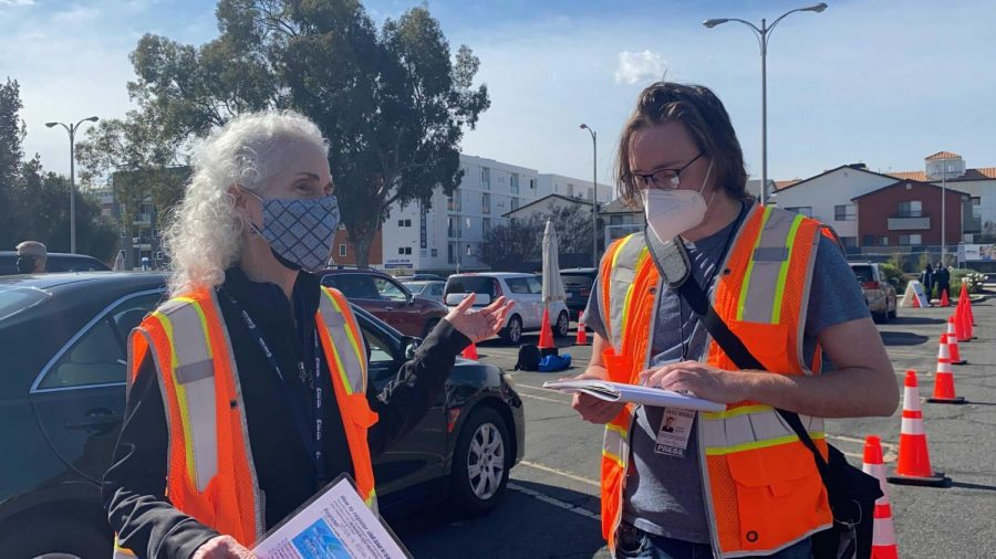 Barbara Ferrer, the director of the Los Angeles County Department of Public Health, being interviewed by Trevor Morgan on Saturday, Feb. 13, 2021 at the CSUN vaccination site in Northridge, Calif.