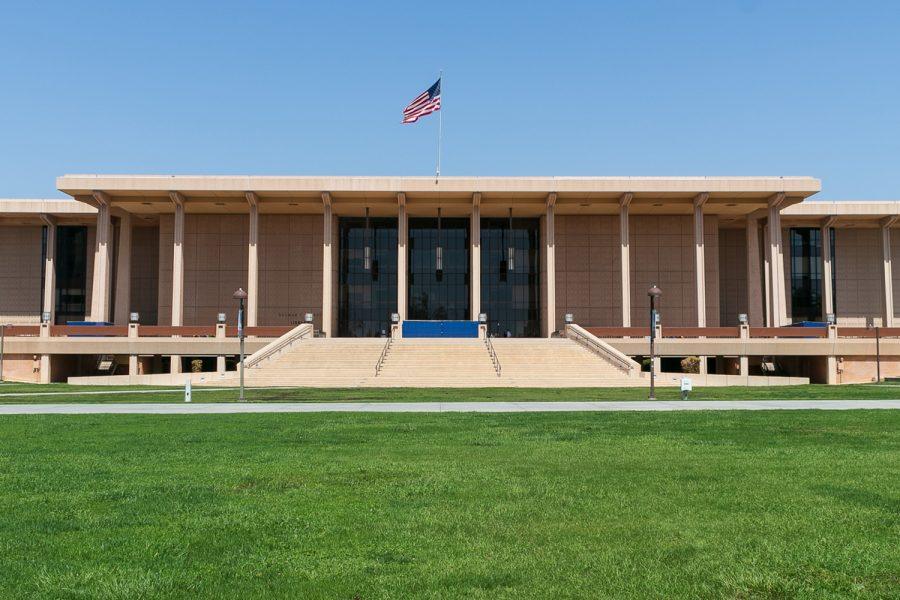 The University Library, formerly known as the Delmar T. Oviatt Library.