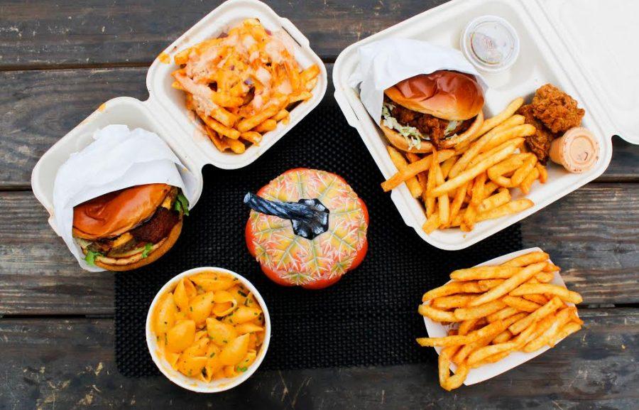 An all-vegan spread from Blazin' Burgers 'N Fried Chicken in Burbank, Calif.