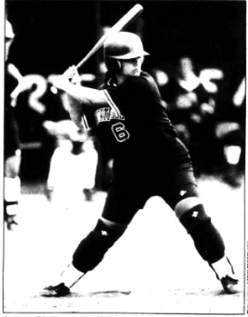 Scia Maumausolo, then a freshman, batting at the plate during a game in 1983.