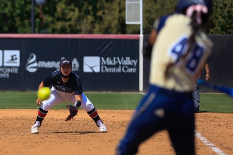 Paloma Usquiano focuses on the at-bat during the first game of a doubleheader against the UC Davis Aggies in Northridge, Calif. on Friday, April 16, 2021. The Matadors lost both games 4-2 and 3-1.