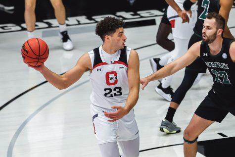 After spending his freshmen season with the Matadors, forward Alex Merkviladze has transferred to play basketball for Loyola Marymount University.