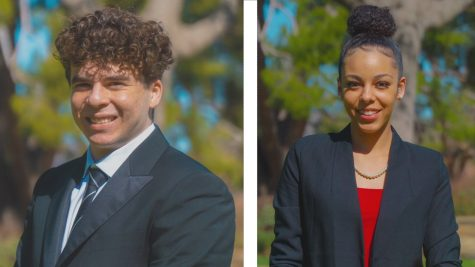Photo collage of AS president candidate, Jacob Akopnik (left) and AS vice president candidate, Kayla Simpkins (right).