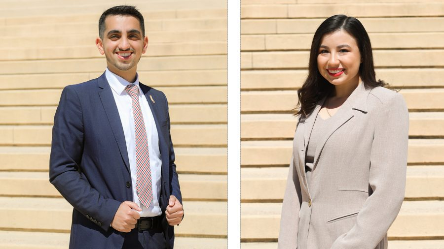 Photo collage of AS president candidate, Johnathan Hay (left) and AS vice president candidate, Kaitlyn Orozco (right).