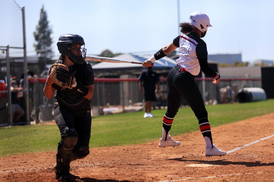 Aaliyah Swan, right, reacts to being struck out during a game against Cal State Long Beach in Northridge, Calif., on Friday, April 2, 2021. The Matadors lost 9-0 in five innings.