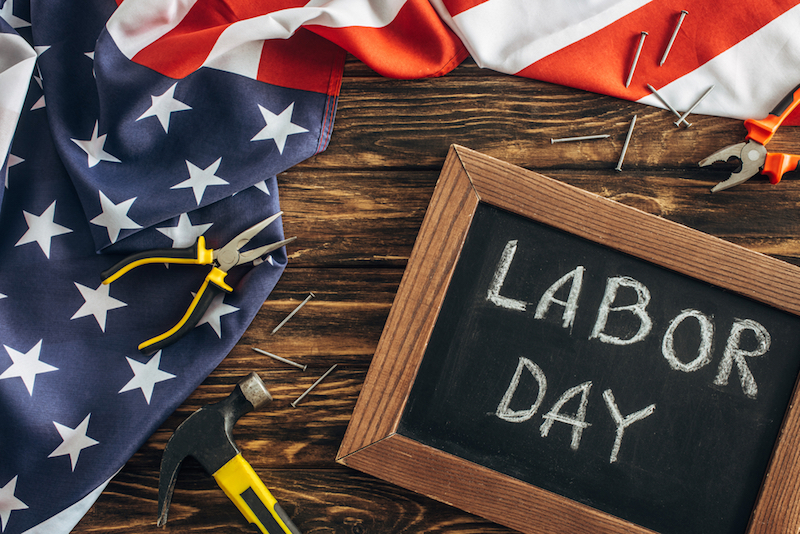 American+flag+and+chalkboard+with+the+words+Labor+Day