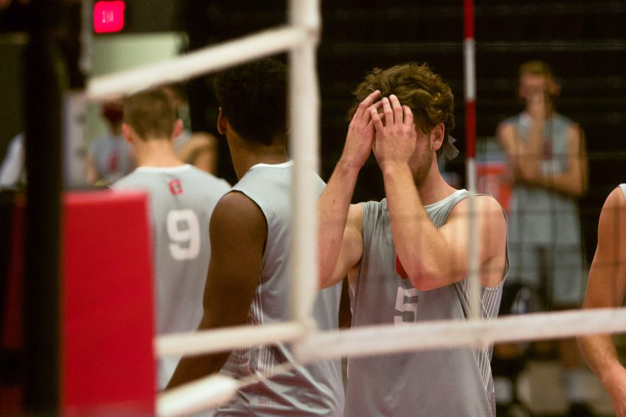 CSUN+setter+Kyle+Merchen+with+his+face+in+his+hands+after+the+Hawai%27i+Rainbow+Warriors+score+a+point+during+their+volleyball+match+held+in+the+Matadome+in+Northridge%2C+Calif.%2C+on+Saturday%2C+April+10%2C+2021.