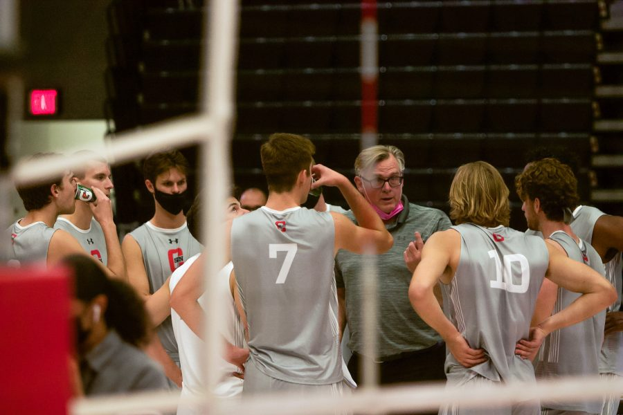 CSUN men's volleyball coach Jeff Campbell speaks during the volleyball match against the Hawai'i Rainbow Warriors in the Matadome at CSUN in Northridge, Calif., on Saturday, April 10, 2021.